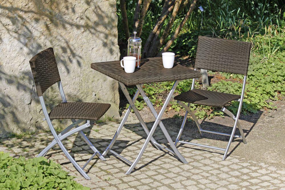 Balkonset NORFOLK 3-teilig coffee Stahl / Kunststoffgeflecht 970174