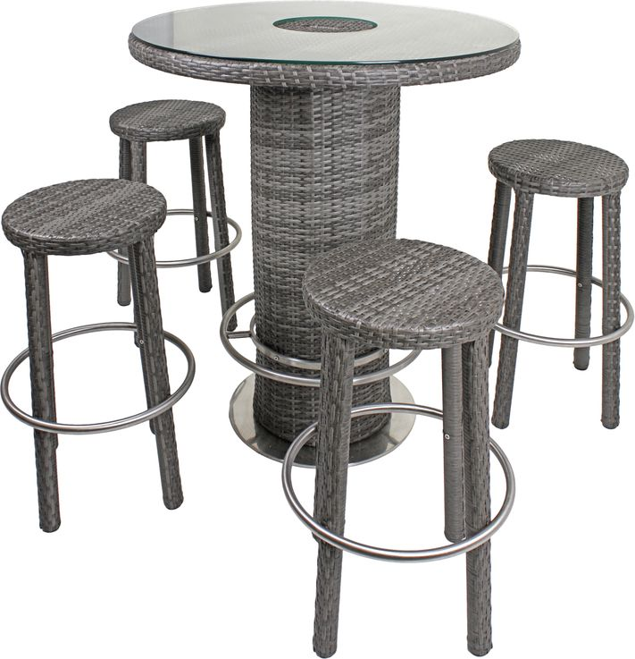 Garden table chairs Bar stool Icebox Aluminum / plastic mesh flat dark gray bar  set EVORA – Bild 1