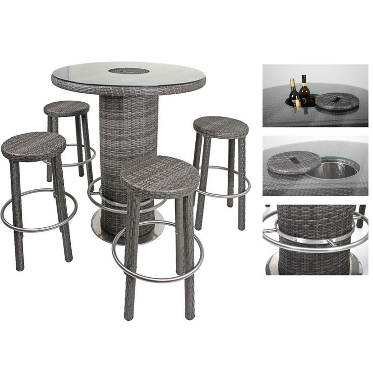 Garden table chairs Bar stool Icebox Aluminum / plastic mesh flat dark gray bar  set EVORA – Bild 3