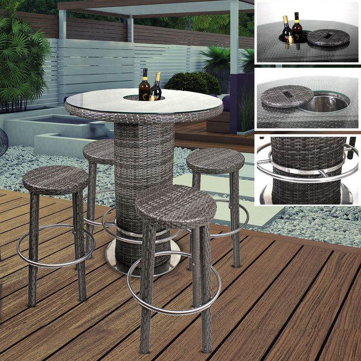 Garden table chairs Bar stool Icebox Aluminum / plastic mesh flat dark gray bar  set EVORA – Bild 2