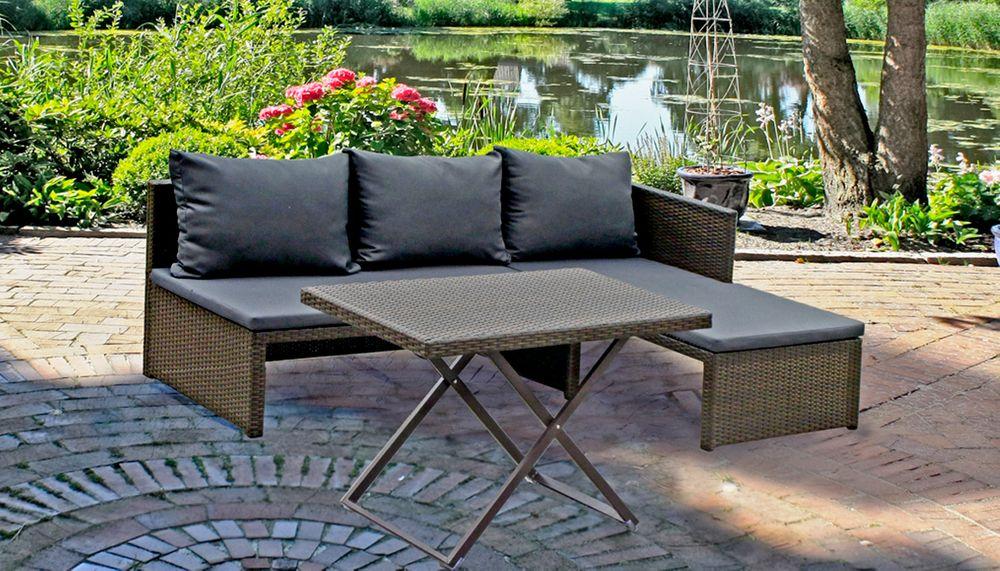 Sofa-Set MATARO 3-tlg. Stahl/ Kunststoffgeflecht coffee 970305