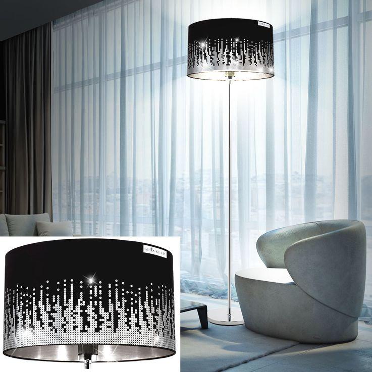Lampadaire chrome textile noir paillettes éclairage luminaire sur pied salle de séjour interrupteur – Bild 2