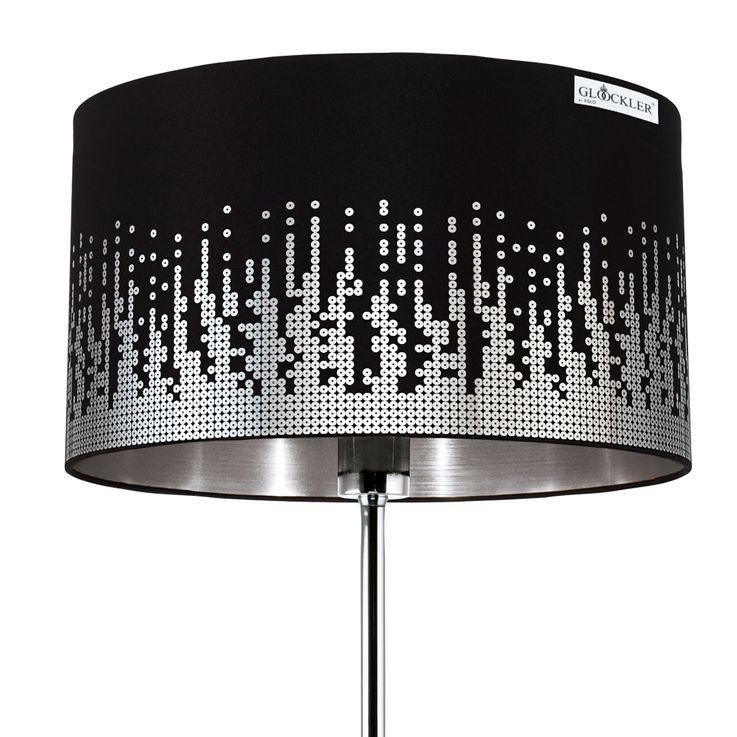 Design Stand Lampe Wohn Zimmer Fußschalter Textil Steh Leuchte schwarz Pailetten silber Eglo 31779 – Bild 4