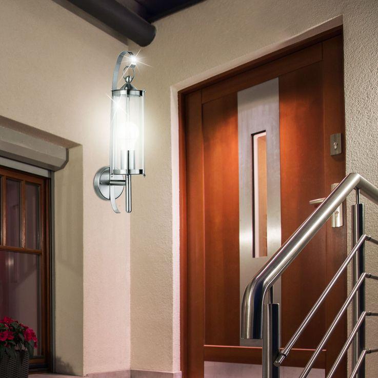 Applique luminaire mural acier inoxydable verre terrasse jardin balcon éclairage E27 lanterne – Bild 3
