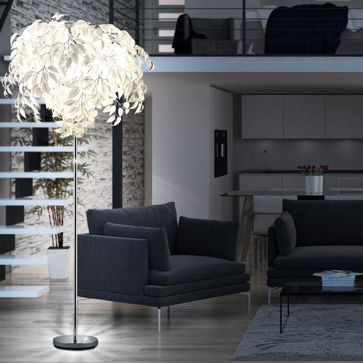 Stand Lampe Wohn Zimmer Blätter Steh Leuchte weiß Fußschalter Beleuchtung Reality Leuchten R40463001 – Bild 4