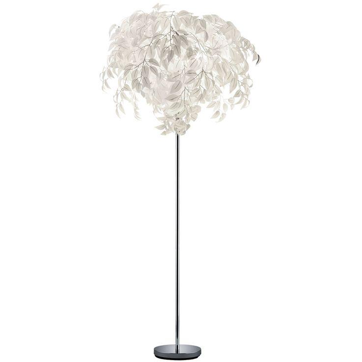 Stand Lampe Wohn Zimmer Blätter Steh Leuchte weiß Fußschalter Beleuchtung Reality Leuchten R40463001 – Bild 1