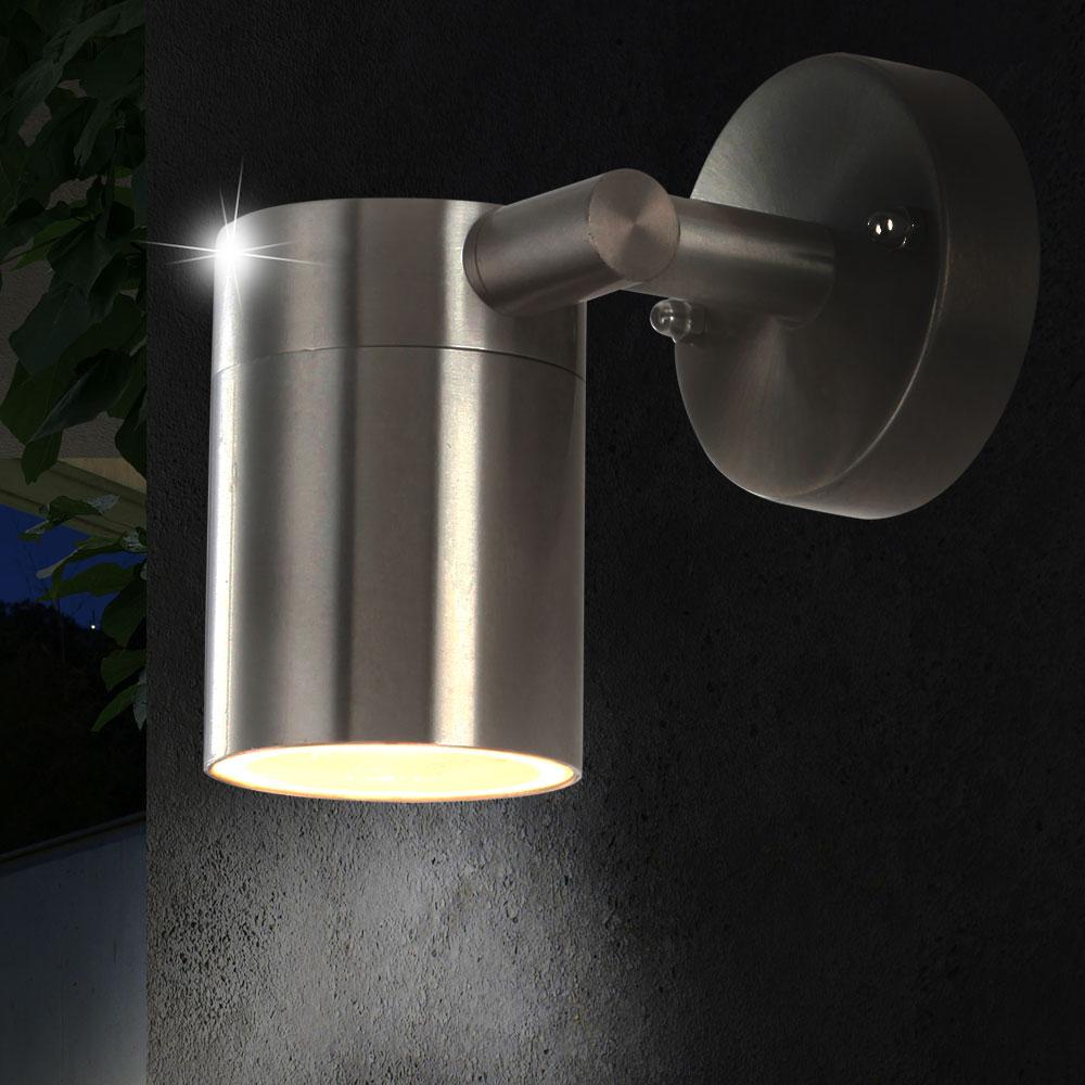 2er set led wandlampen aus edelstahl f r die terrasse style. Black Bedroom Furniture Sets. Home Design Ideas