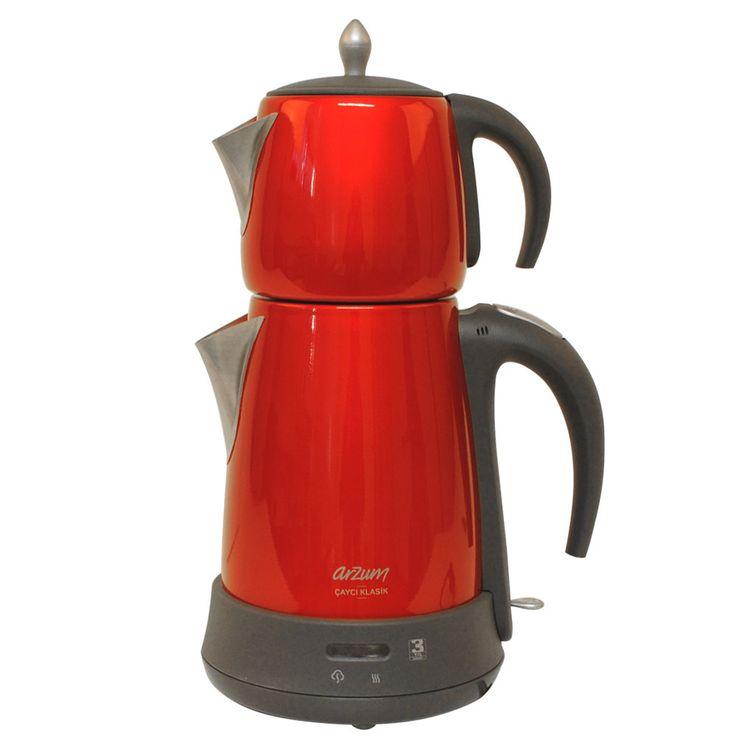 2in1 Wasser Tee Kocher Warmhalte Funktion kabellos Leuchtanzeige Küchen Gerät rot Arzum AR3006R – Bild 3