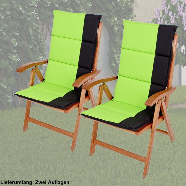 2 set high back requirements garden chair seat cushion couch upholstery polyester Green Black – Bild 2