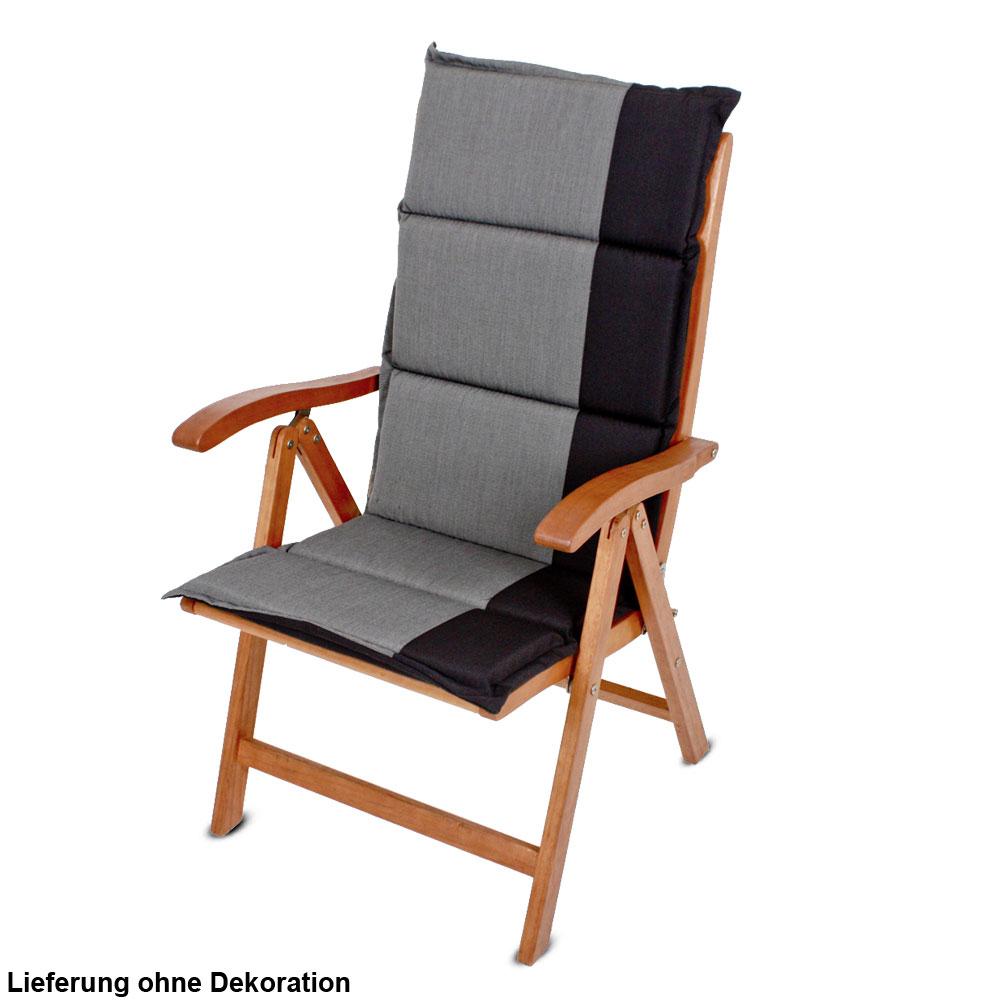 4er set hochlehner auflagen anthrazit schwarz garten stuhl for Hochlehner stuhl