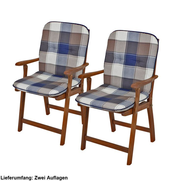 Set of 2 low chair garden chair cushions plaid plaid cotton upholstery polyester – Bild 1