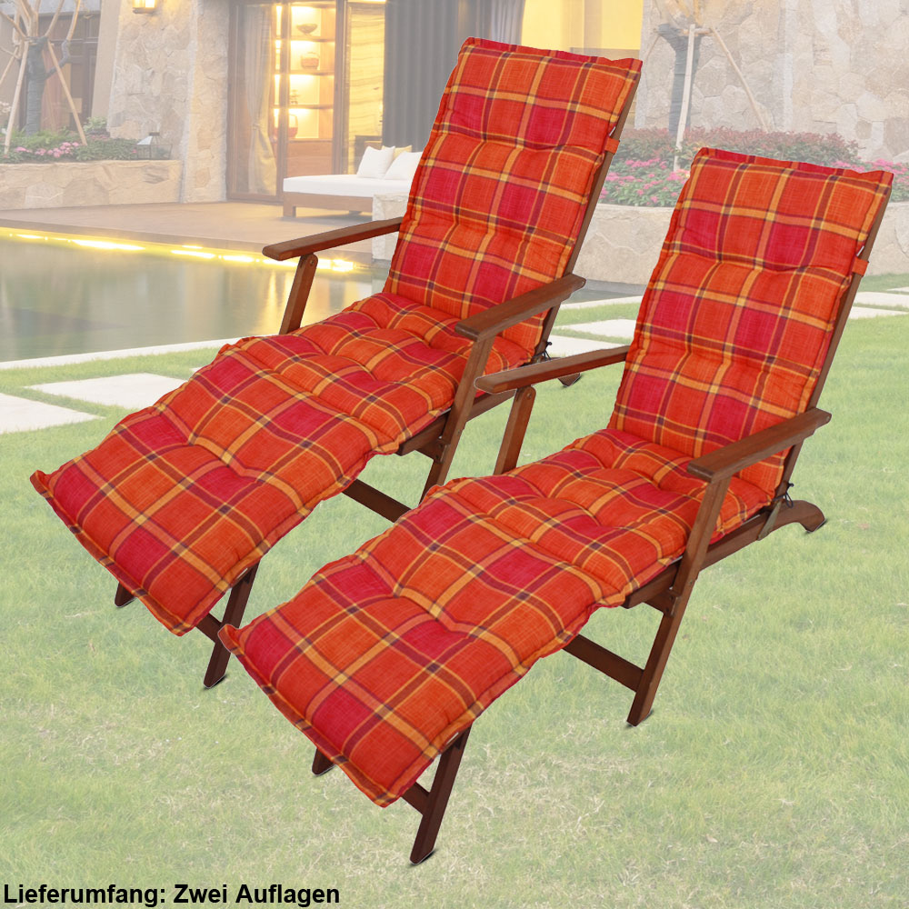 2er set liege stuhl stoff polster kissen deckchair auflagen l nge 190 cm kariert ebay. Black Bedroom Furniture Sets. Home Design Ideas