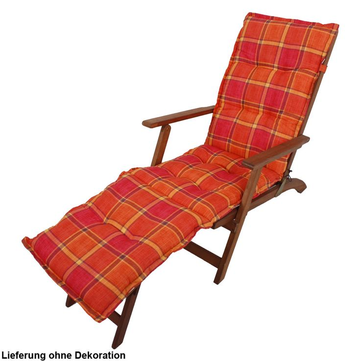 Orange Sun pad checkered 2er set Deckchair conditions polyester cotton garden furniture cushions – Bild 3
