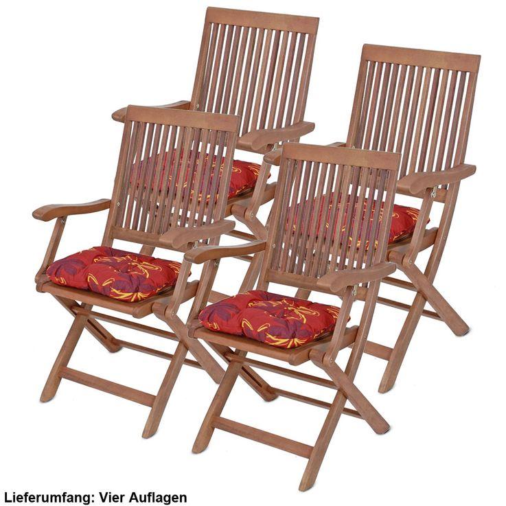 4er Set Sitz Kissen Blumen Flockenfüllung Stuhl Polster Baumwolle Polyester Auflagen Blüten – Bild 1