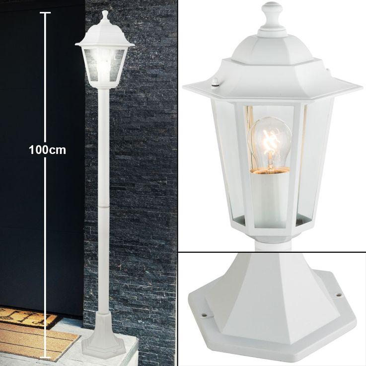 Steh Stand Lampe Garten Weg Beleuchtung Alu Laterne Terrassen Glas Leuchte weiß Globo 31873 – Bild 3