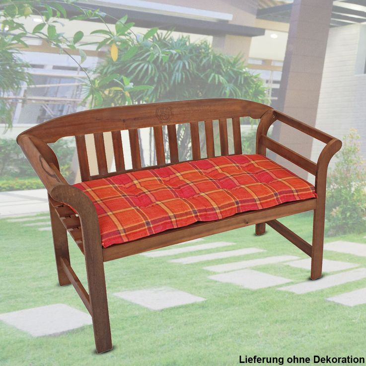 Set of 2 bench cushions Chair Chair Cushion Garden textile orange plaid – Bild 3