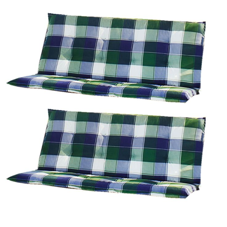 Set of 2 Design swinging sun loungers garden checkered porch furniture upholstery – Bild 1