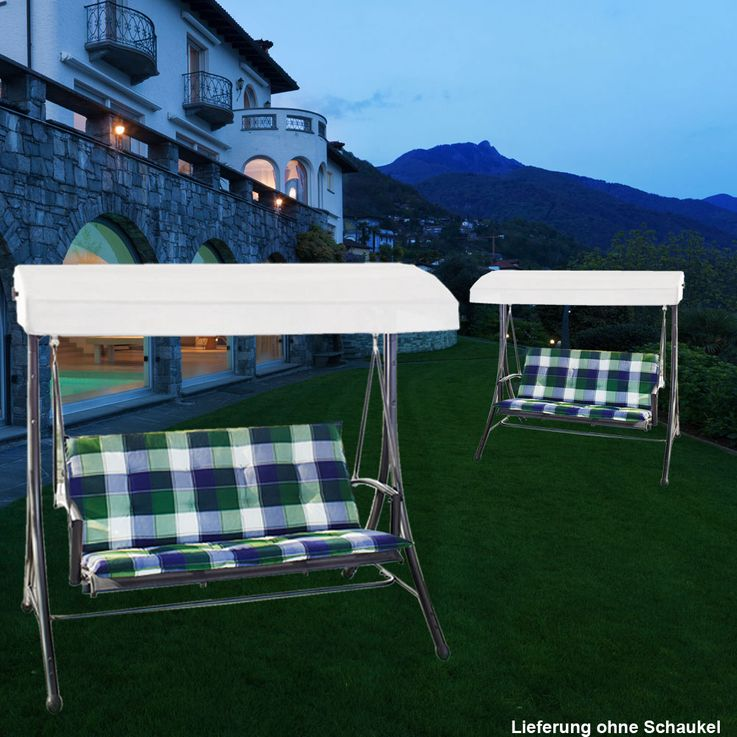 Set of 2 Design swinging sun loungers garden checkered porch furniture upholstery – Bild 2