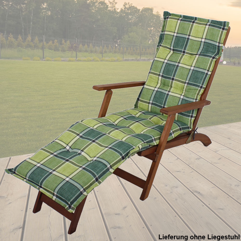 liege stuhl polster auflagen garten mobiliar deckchair textil kissen kariert ebay. Black Bedroom Furniture Sets. Home Design Ideas
