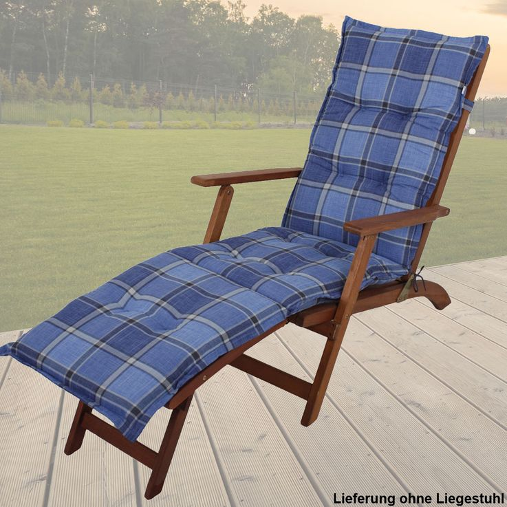 Premium Deckchair pads squared reclining upholstered polyester cotton garden furniture cushions – Bild 4