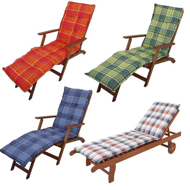 Premium Deckchair pads squared reclining upholstered polyester cotton garden furniture cushions – Bild 1