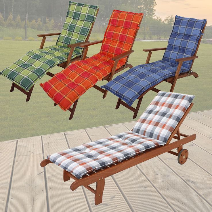 Premium Deckchair pads squared reclining upholstered polyester cotton garden furniture cushions – Bild 2