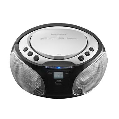 Stereo Anlage Audio FM Radio CD-Player USB Bluetooth MP3 Lichteffekt Lenco SCD-550 silber – Bild 1