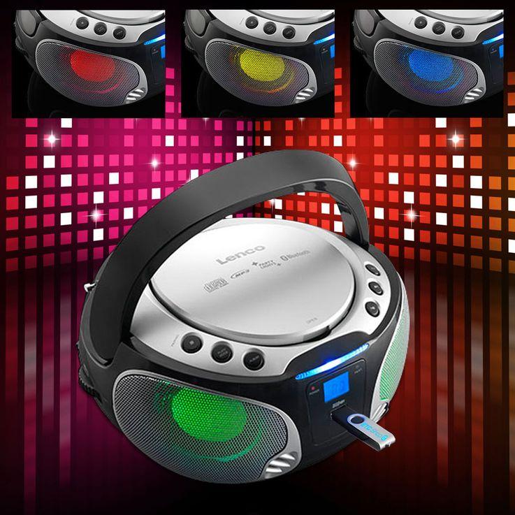 Stereo Anlage Audio FM Radio CD-Player USB Bluetooth MP3 Lichteffekt Lenco SCD-550 silber – Bild 2