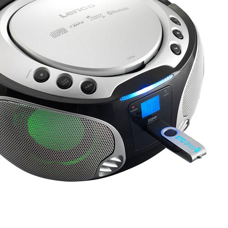 Stereo system audio FM radio CD player MP3 USB Bluetooth light effect Lenco SCD-550 silver – Bild 3