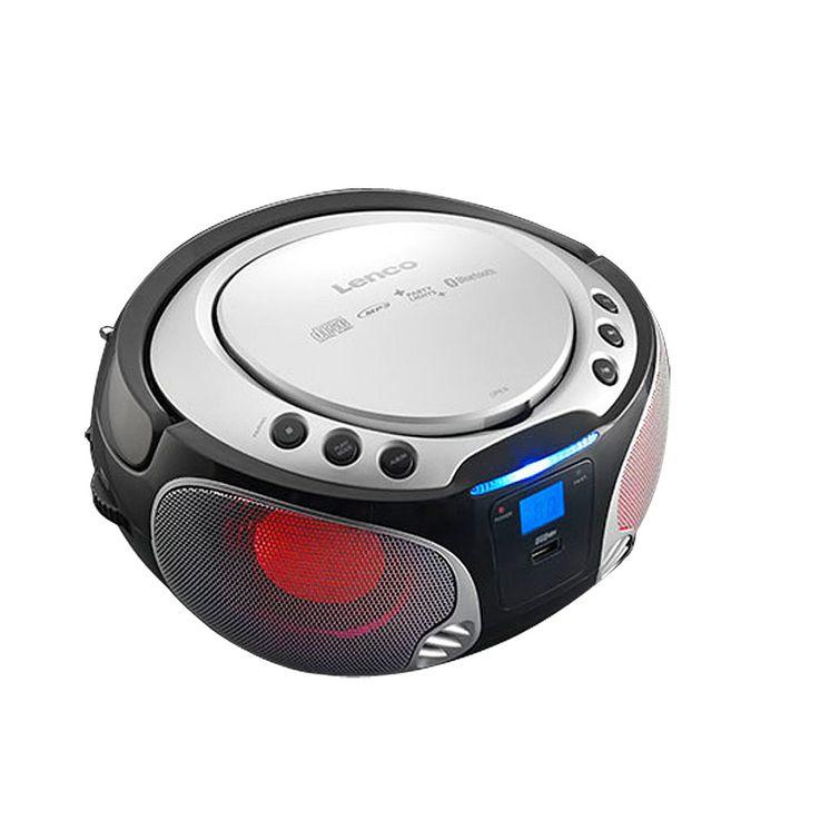 Stereo Anlage Audio FM Radio CD-Player USB Bluetooth MP3 Lichteffekt Lenco SCD-550 silber – Bild 4
