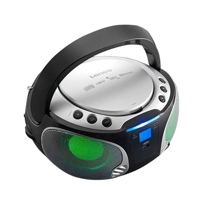 Stereo Anlage Audio FM Radio CD-Player USB Bluetooth MP3 Lichteffekt Lenco SCD-550 silber – Bild 5