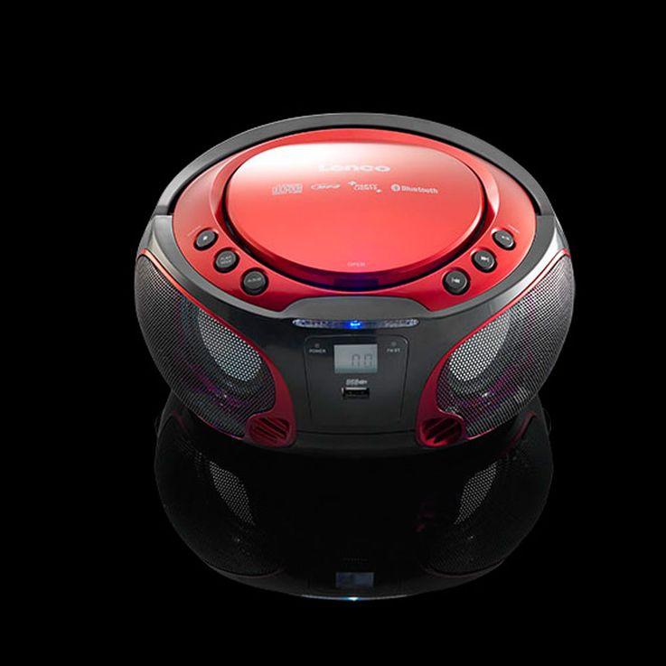 Design Musik Party Audio Anlage USB Bluetooth Boombox CD Player MP3 Farbwechsler Lenco SCD-550 rot – Bild 5