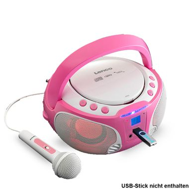 Girls Karaoke Stereo Portable Microphone USB MP3 CD Player Child Light Effect Lenco SCD-650_pink – Bild 1