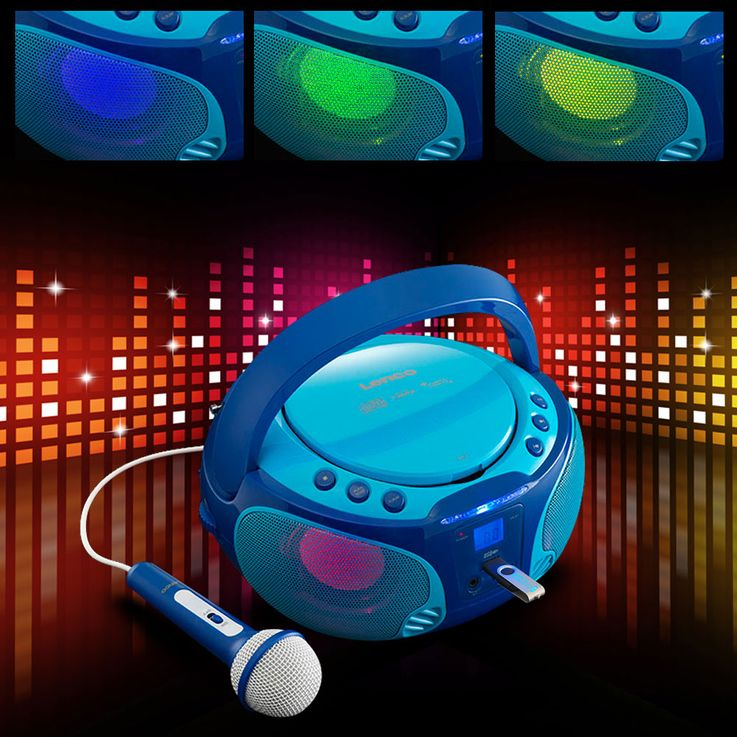 Children karaoke stereo system portable microphone USB MP3 party CD player light effect Lenco SCD-650 blue – Bild 2