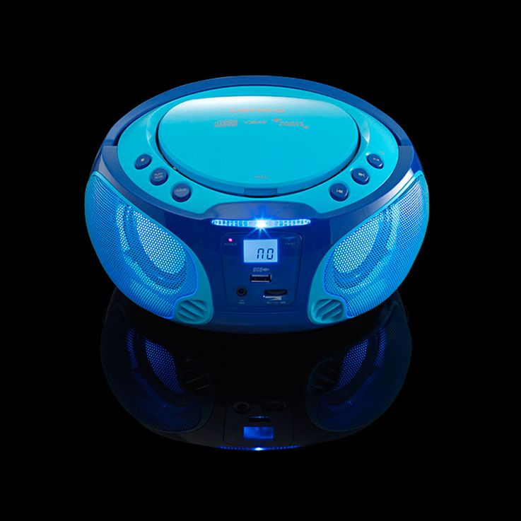 Children karaoke stereo system portable microphone USB MP3 party CD player light effect Lenco SCD-650 blue – Bild 4