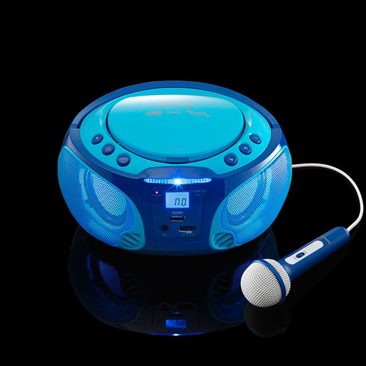Children karaoke stereo system portable microphone USB MP3 party CD player light effect Lenco SCD-650 blue – Bild 6