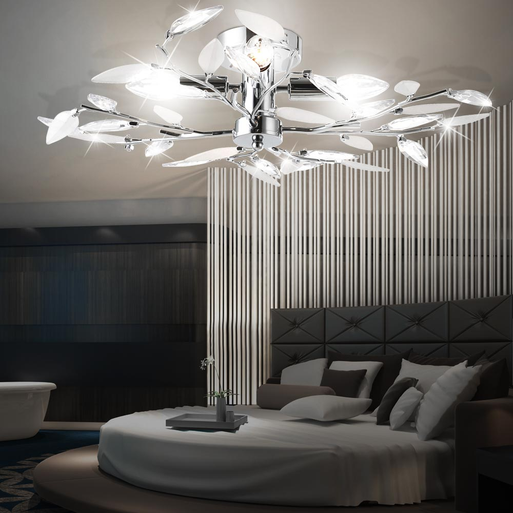 Ceiling light lamp living room leaves chandelier lighting for Ebay living room lights