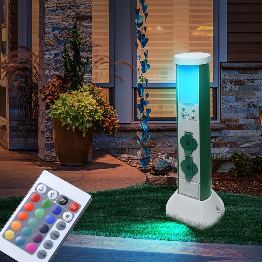 rgb led au en steh lampe steckdosen fernbedienung garten wege leuchte dimmbar ebay. Black Bedroom Furniture Sets. Home Design Ideas