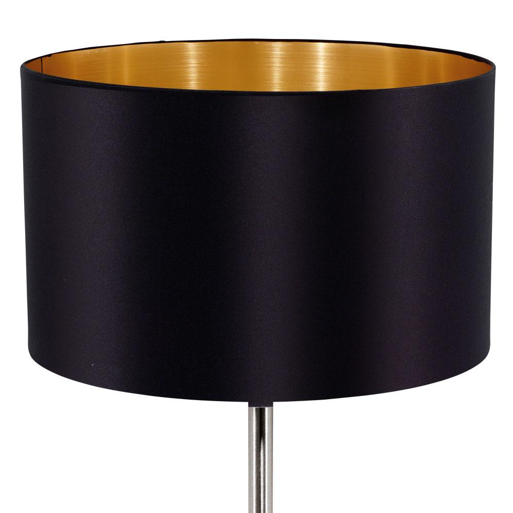 tisch leuchte kabel schalter textil schwarz gold beistell lampe g ste zimmer ebay. Black Bedroom Furniture Sets. Home Design Ideas