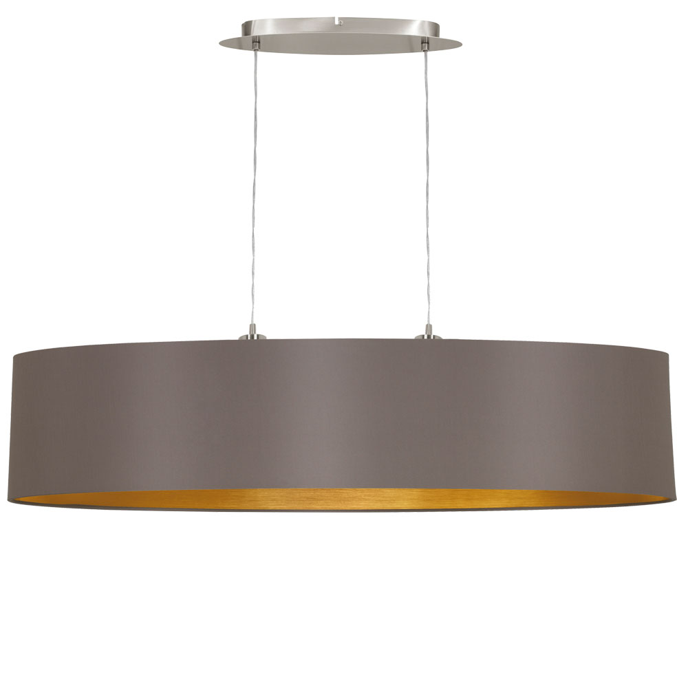 Stoff h nge lampe oval cappuccino wohn schlaf zimmer for Pendelleuchte oval stoff