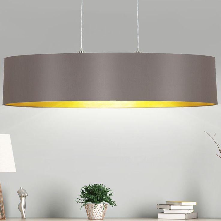 Fabric hanging lamp gold colored oval living room textile hanging lamp cappuccino Eglo 31619 – Bild 2