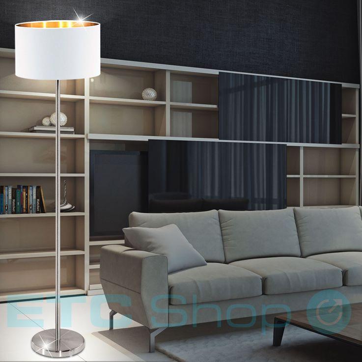 Steh Leuchte Textil Schirm Decken Fluter Schlafzimmer Stand Lampe weiß Fußschalter Eglo 95174 – Bild 3