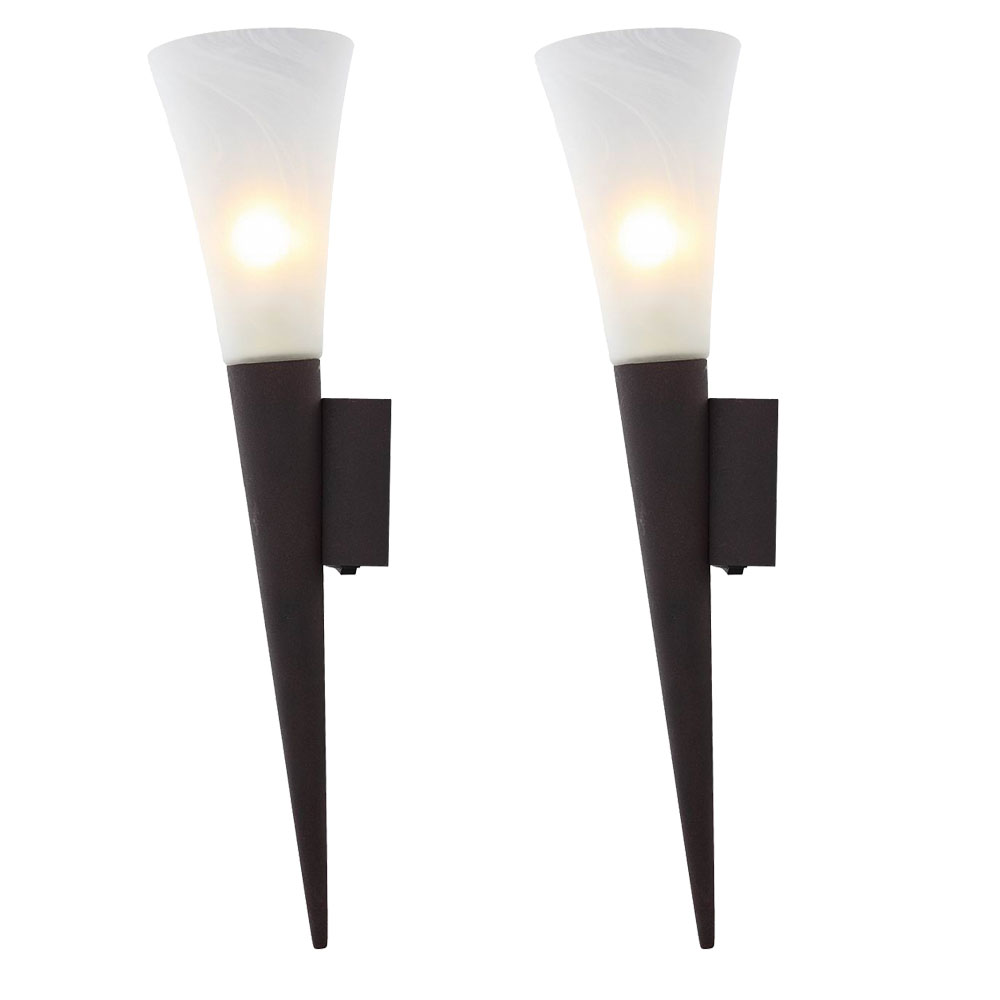 Set Of 2 Led Wall Torch Dining Room Lamp Glass Grate Rusty