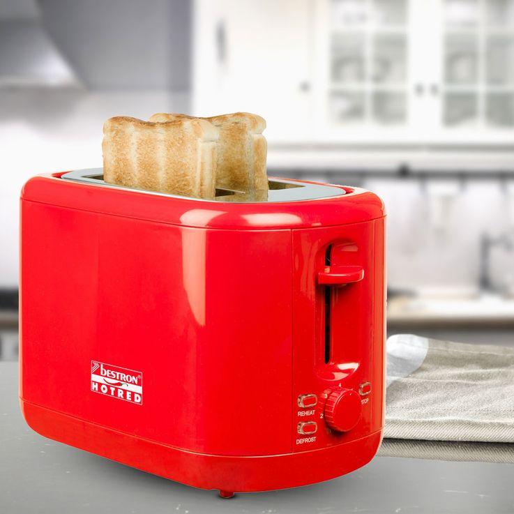 2 Scheiben Toaster in rot mit Brötchenaufsatz – Bild 2
