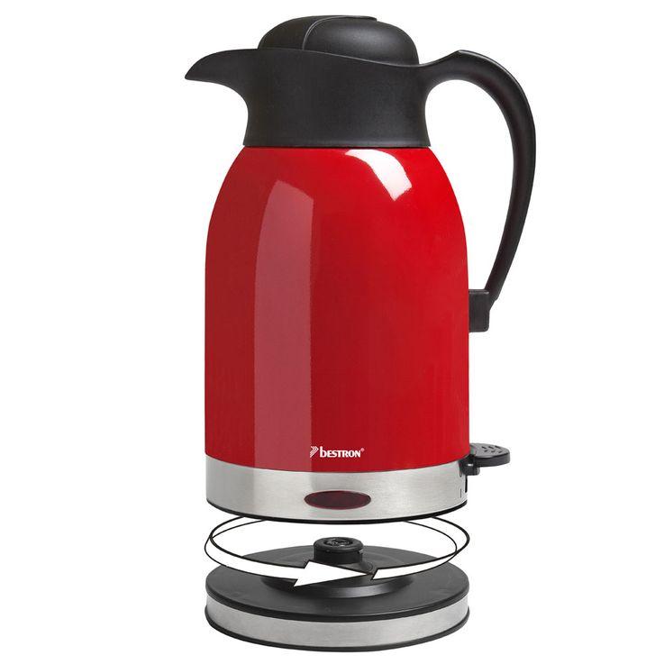 Kabelloser Wasser Kocher 1600 Watt 1,5 Liter drehbar Leuchtanzeige Küche rot Bestron 85161080 – Bild 3