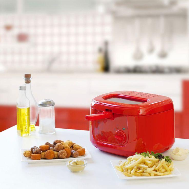 Fritteuse 2,5 Liter Kapazität 1800 Watt Öl Fritöse Ofen Haushalt Party rot Bestron 85167920 – Bild 3