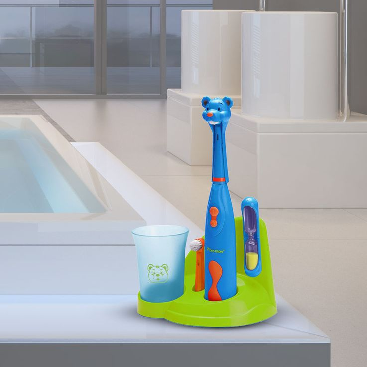 Children's Toothbrushes Set With Bracket Bear Design Sand Clock Beaker Cleaning Bestron DSA3500B – Bild 2