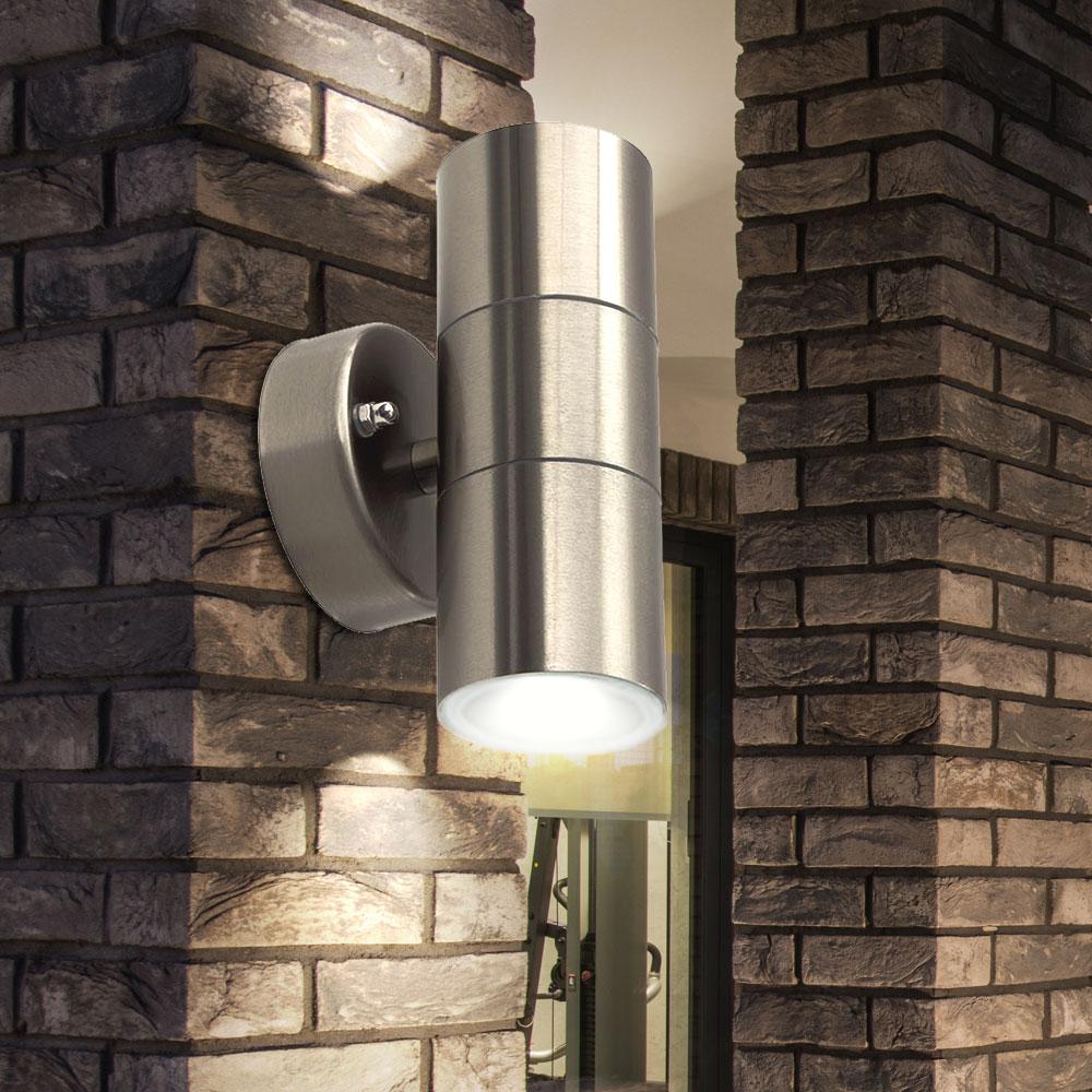 2er Set Mur Lampes Acier Inoxydable Verre garages jardin Extérieur Up Down Projecteur gu10