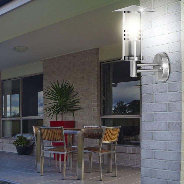 Applique luminaire mural acier inoxydable espace extérieur verre façade terrasse jardin – Bild 4