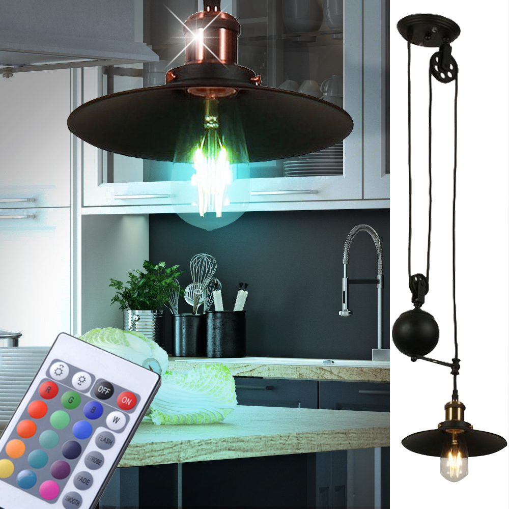 rgb led decken pendel h nge leuchte fernbedienung dimmbar shabby loft vintage ebay. Black Bedroom Furniture Sets. Home Design Ideas
